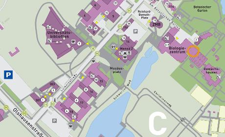 Karte des CAU-Campus, verlinkt auf PDF-Campus-Plan